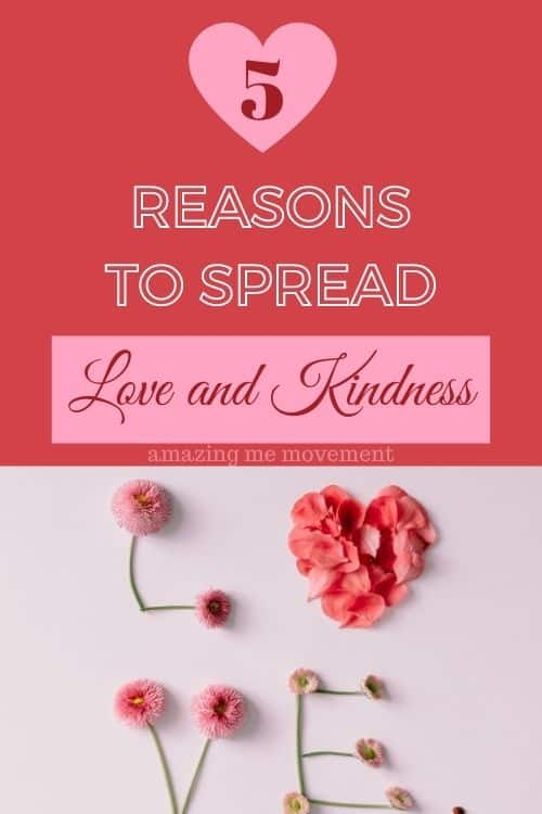 spread love and kindness pinterest pin image
