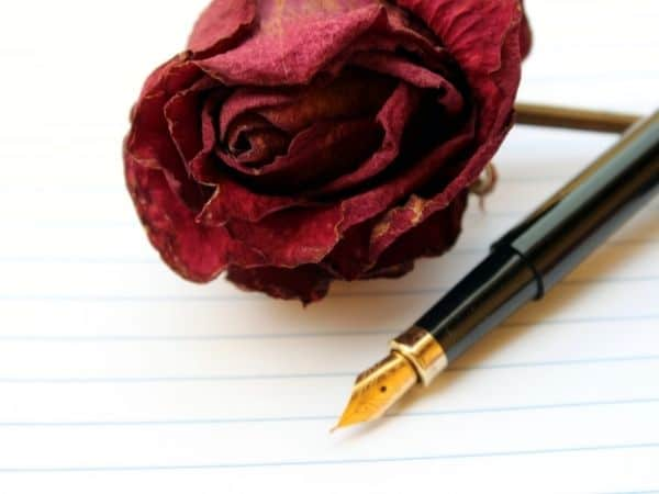 flower with pen and paper