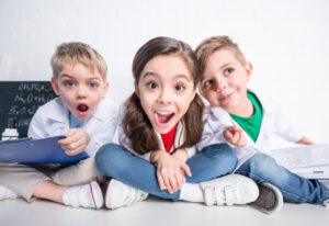 kids at school-spelling test