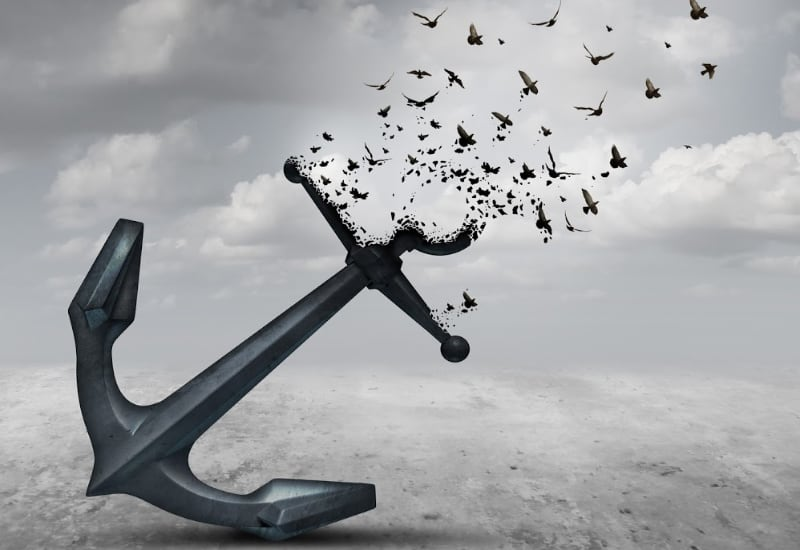 an anchor with birds flying out of it-how to let go of things