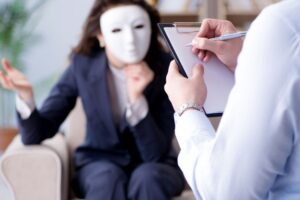 woman with mask-how to spot a narcissist