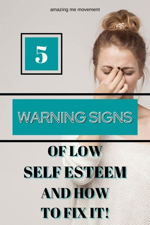 sad woman-pinterest pin image for warning signs of low self esteem blog post