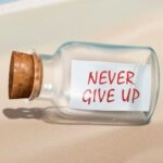 never give up text in a bottle